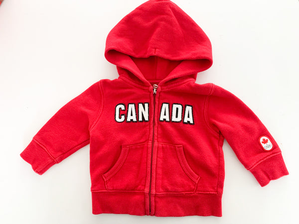 HBC Canada red hood zip up sweater (0-6 months)