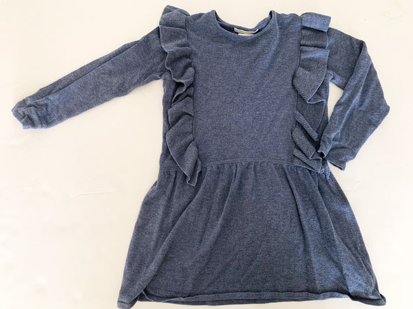 Zara blue ruffle knit dress   (size 6)