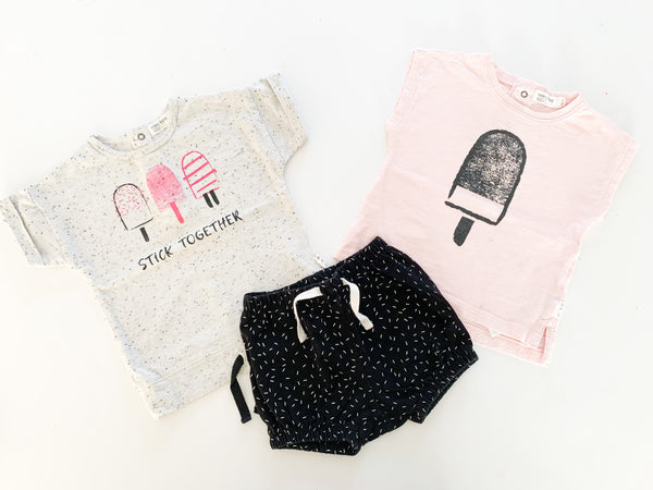 Miles baby ice cream shirts with sprinkle shorts (12 months  )
