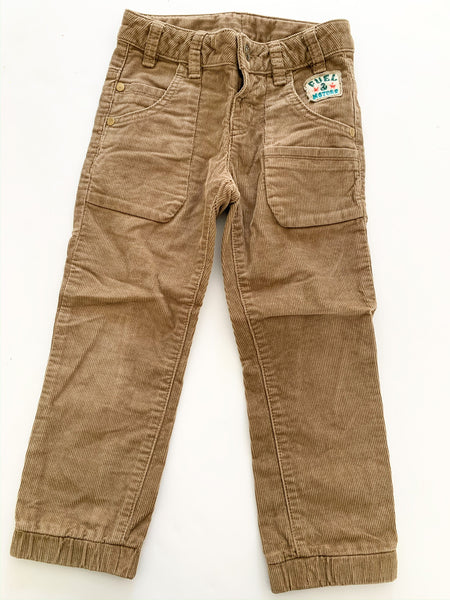 Benetton light brown cord jogger size xxs (3/4 years)