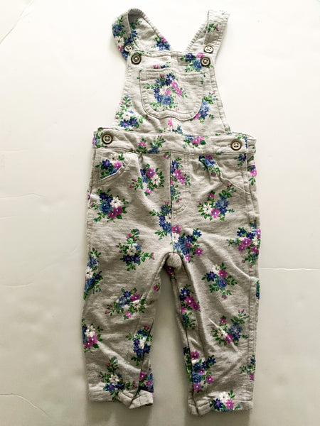 Carters grey overalls with floral print (12 months)