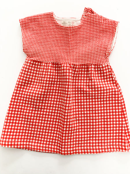 Zara red gingham checked dress  (12/18 months)