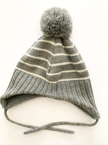 H&M grey stripe hat with pom pom size 1.5-2 years