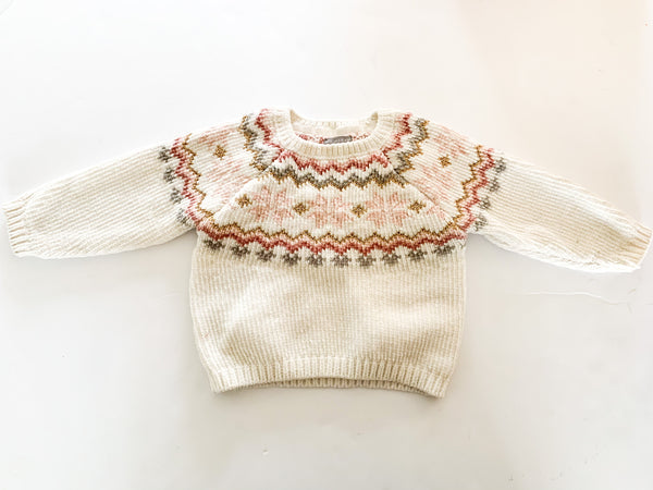 Primark ivory fair isle soft sweater detail size 9-12 months