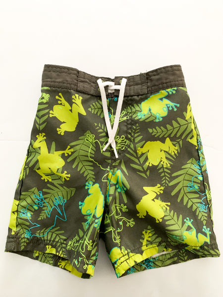Old navy green frog print swimming shorts (18-24 months)