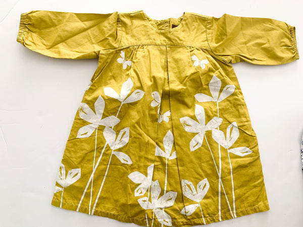Tea yellow dress with white flowers (size 2)