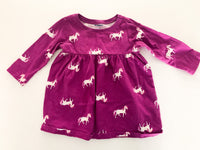 Old Navy purple with unicorns long sleeve peplum shirt size 6-12 months