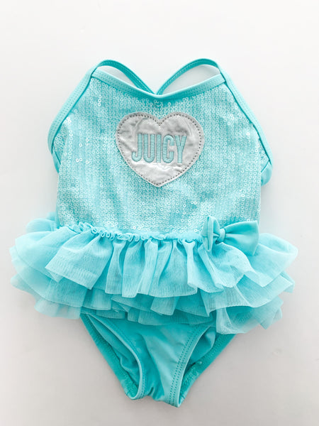 Juicy Couture baby blue bathing suit with tulle & sequins size 12 months