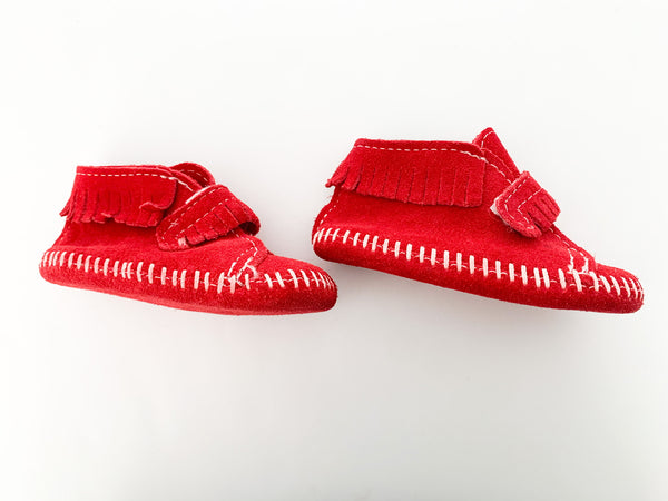 Minnetonka red mocs with fringe & velcro strap size: 2