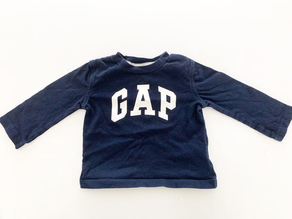 Gap logo navy LS shirt  (6-12 months)