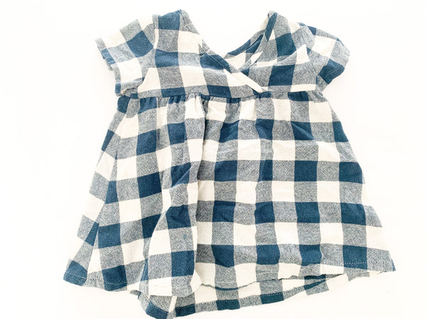 Zara blue/ivory plaid print dress (12/18 months)
