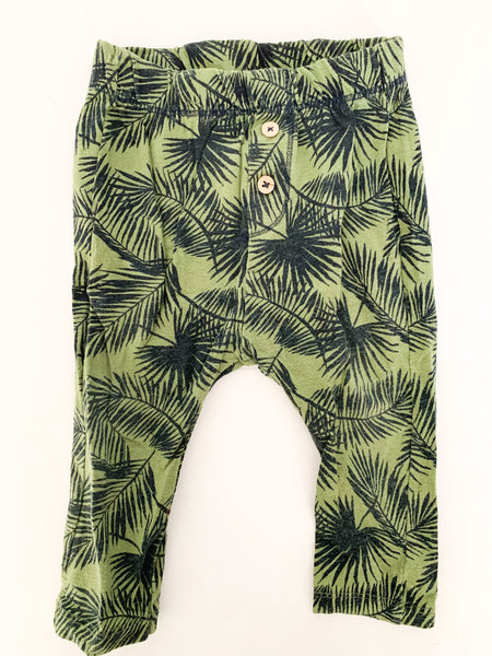 Zara green leggings w/Palms (9/12 months)