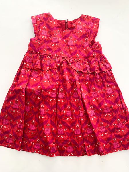 Tea red dress with pink roses & ruffle trim (size 2)