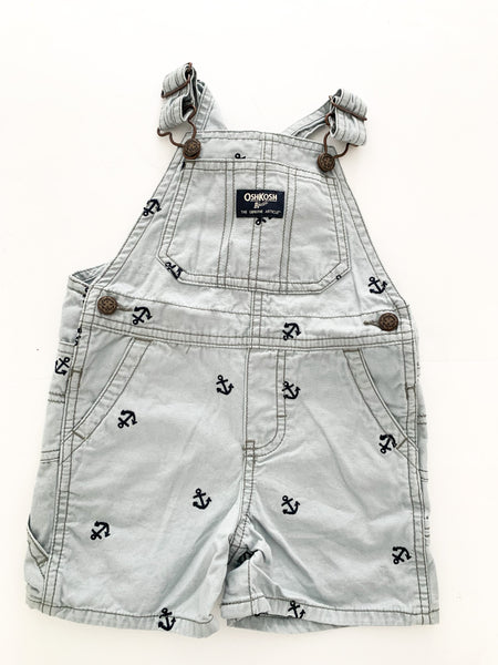 Osh kosh grey anchor short overalls (18 months)