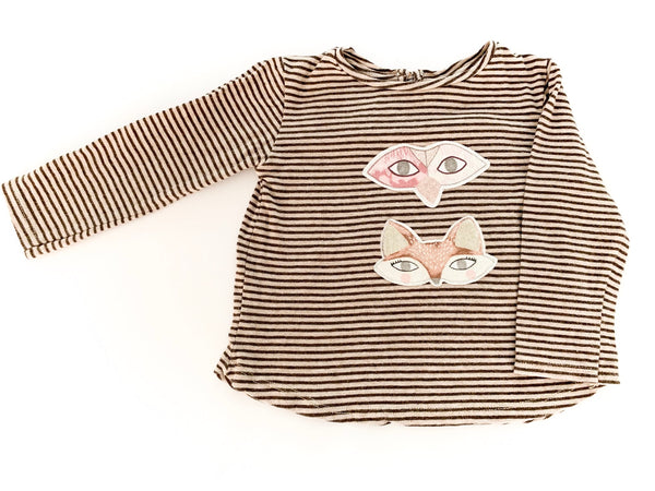 Zara dark brown striped fox long sleeve shirt