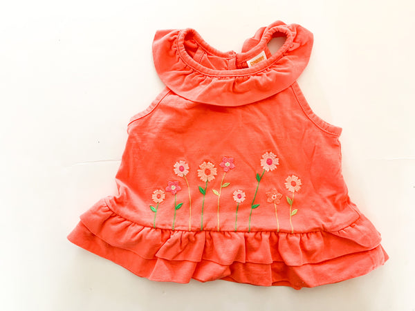Gymboree coral sleeveless shirt with flowers & ruffle collar size: 18-24 months