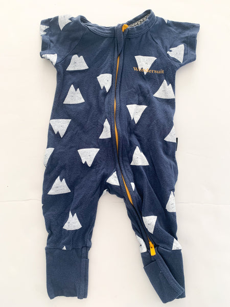 Bonds Navy short w/mountains wonder suit (newborn )