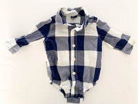 Gap blue and white plaid button down onesie(3-6 months)