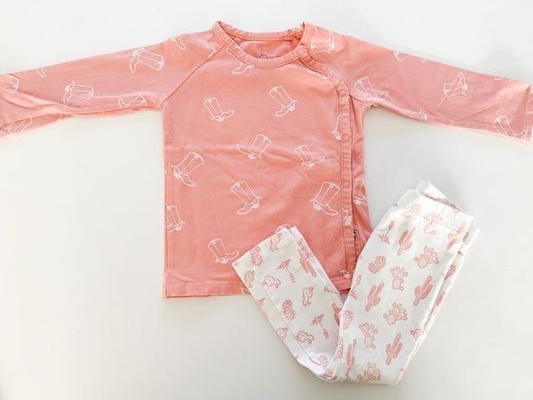 NOeser pink cowboy hat LS and cactus print leggings (18-24 months)