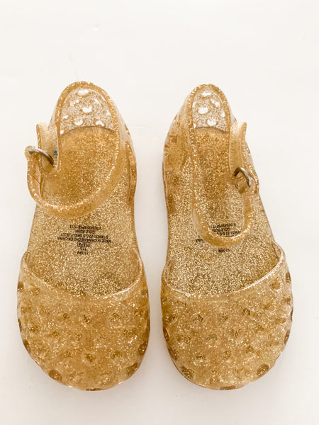 Old Navy gold glitter jelly shoes (size 12-18 months)