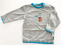 Mexx grey LS shirt with blue trim and key (12-18 months)