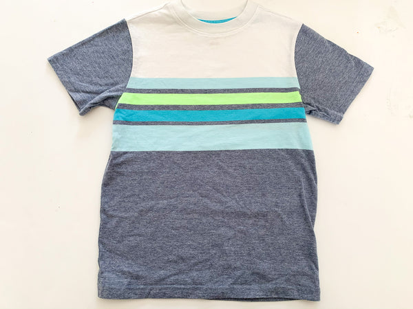 Cat & Jack multi-coloured t-shirt with blue & green stripes size s (6/7 years)