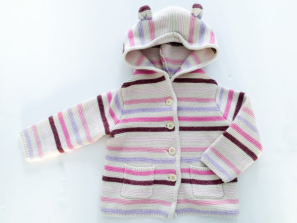 Baby Gap cream and pink stripe knit button hoodie sweater size 12-18 months