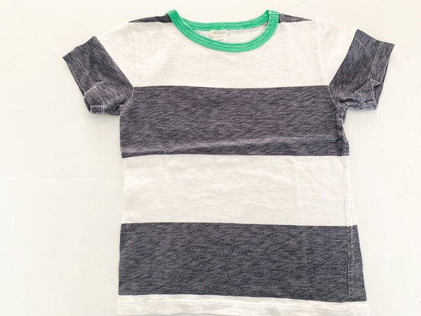 Crewcuts white & grey stripe tee with green collar detail size 4-5Y