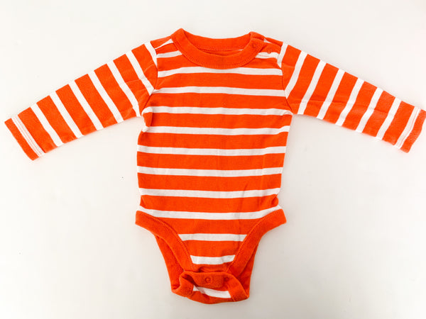 Old Navy orange & long sleeve stripe 1pc size 3-6 months