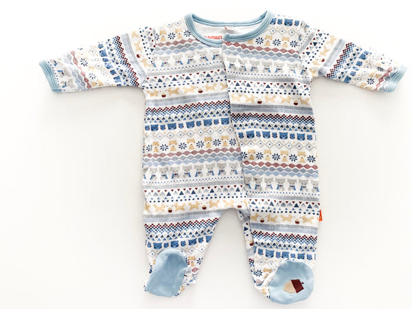 Magnetic Me blue animal print footie onesie