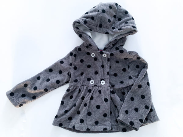 Carter's dark grey with polkadot fleece sweater jacket with hood size 12 months