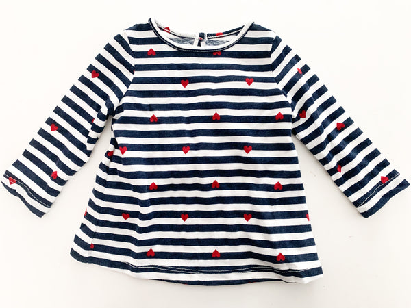 Joe Fresh blue/white stripe shirt with hearts(3-6 months)