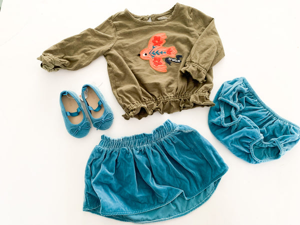 Gymboree 4pc green with teal blue velour skirt, bloomers & ballet flat (new w/ tags) size 12-18 months