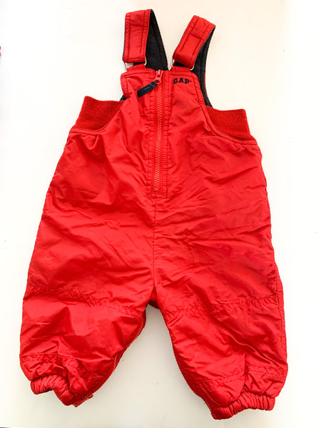 Baby Gap red snow pants with zipper access size 6-12 months