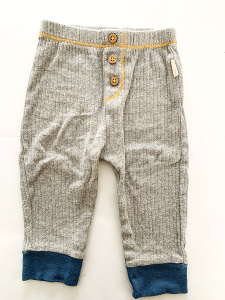 Burts bees grey ribbed leggings  (0-3 months)