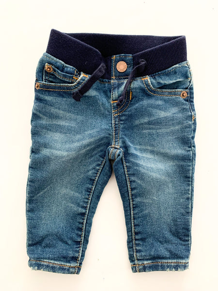 Baby Gap denim jeans with waist band size: 0-3 months