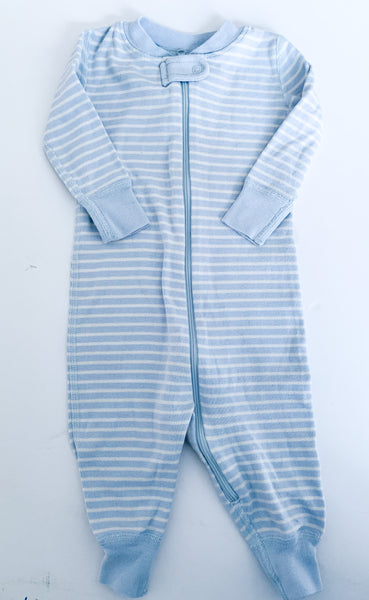 Moon and Back light blue stripe sleep suit with zipper size 6-12 months