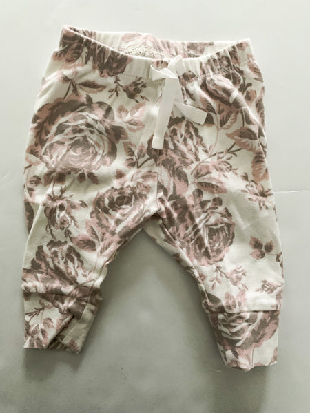 Gap beige leggings w/ large pink florals   (0-3 months)