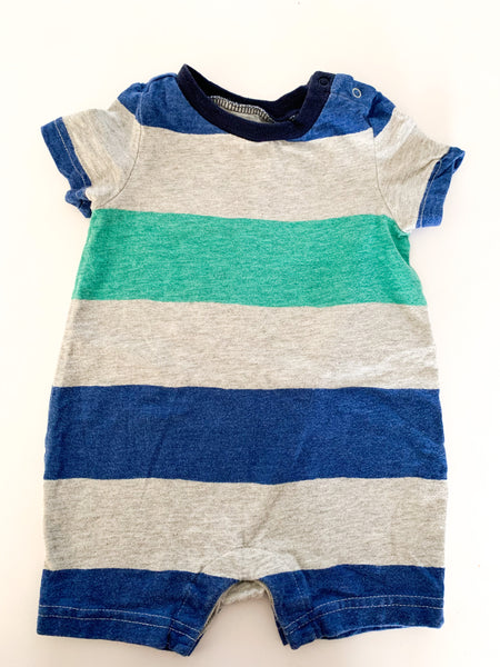 Gap blue and green stripe romper   (3-6 months)