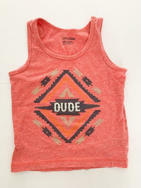 "Baby Gap pink ""dude"" tank top size 12-18 months"