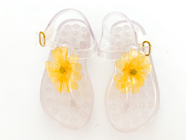 Gap yellow flower jelly sandals (size 6)