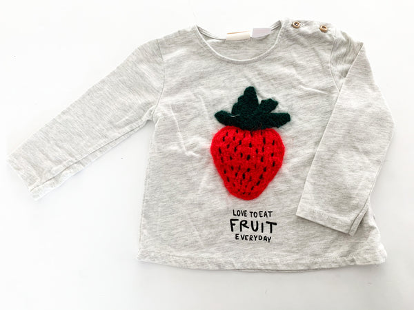 Zara grey long sleeve shirt with fuzzy strawberry size 9-12 months