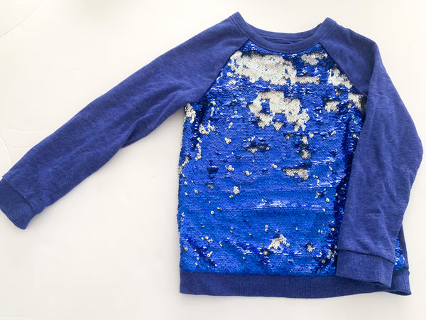 Cat & Jack blue sequin pullover( size 6)