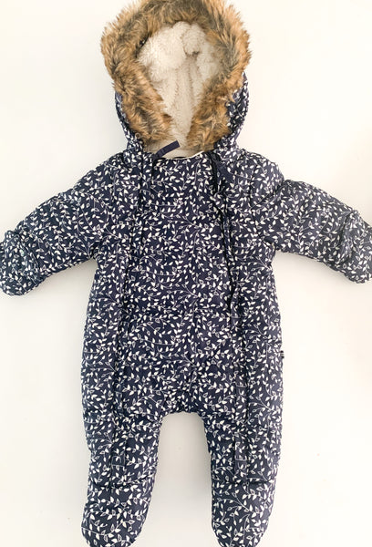 Nautica winter suit with fur hood ( 0-3 months)