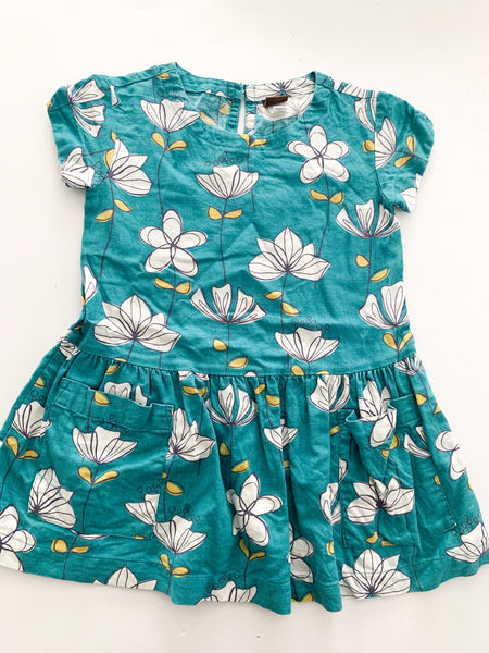 Tea dark turquoise peplum dress w/flowers (size 3)