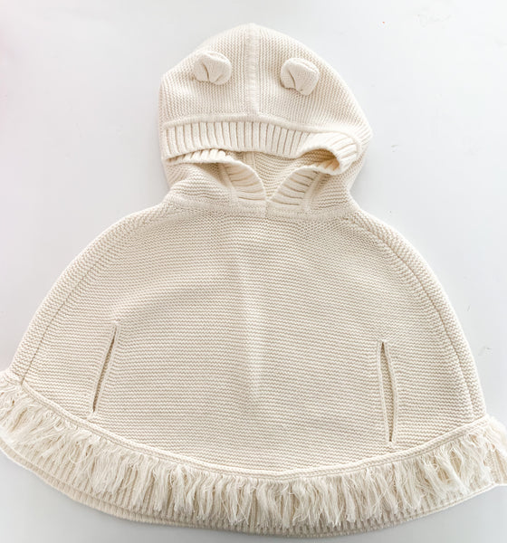 Gap ivory knit poncho with hood (18-24 months)