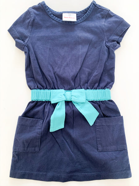 Hanna Anderson blue dress with bow  (size 3)