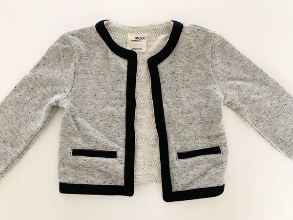 Osh kosh heather gray metallic sweater jacket w/black trim(size 4)