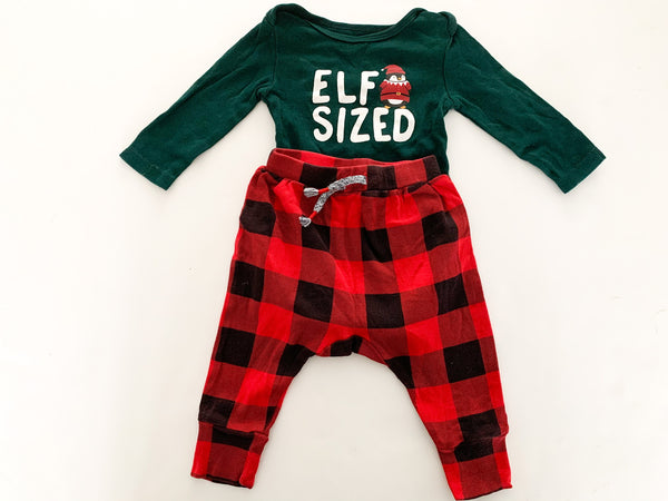 "Joe Fresh ""elf sized"" bodysuit & tartan leggings size 3-6 months"