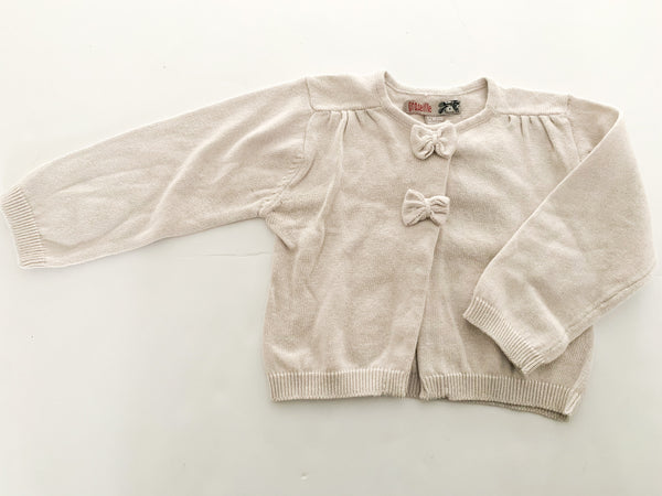 Groseille light taupe cardigan with bows new with tags size 12 months